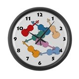 Colorful Violins - Large Wall Clock