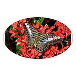 Butterfly on Red Flowers Sticker (Oval)
