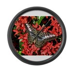 Butterfly on Red Flowers Large Wall Clock