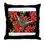 Butterfly on Red Flowers Throw Pillow