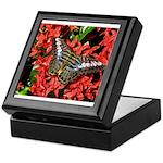 Butterfly on Red Flowers Keepsake Box
