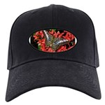 Butterfly on Red Flowers Black Cap