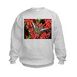 Butterfly on Red Flowers Kids Sweatshirt