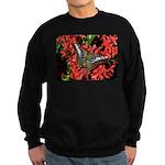 Butterfly on Red Flowers Sweatshirt (dark)