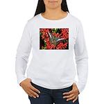 Butterfly on Red Flowers Women's Long Sleeve T-Shi