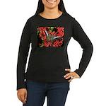 Butterfly on Red Flowers Women's Long Sleeve Dark