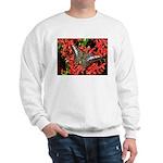 Butterfly on Red Flowers Sweatshirt