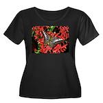 Butterfly on Red Flowers Women's Plus Size Scoop N