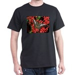 Butterfly on Red Flowers Dark T-Shirt