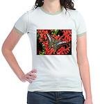 Butterfly on Red Flowers Jr. Ringer T-Shirt