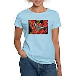 Butterfly on Red Flowers Women's Light T-Shirt