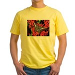 Butterfly on Red Flowers Yellow T-Shirt
