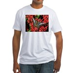 Butterfly on Red Flowers Fitted T-Shirt