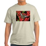 Butterfly on Red Flowers Light T-Shirt