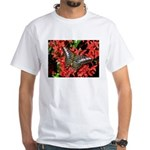 Butterfly on Red Flowers White T-Shirt