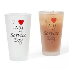I Love My Service Dog Drinking Glass
