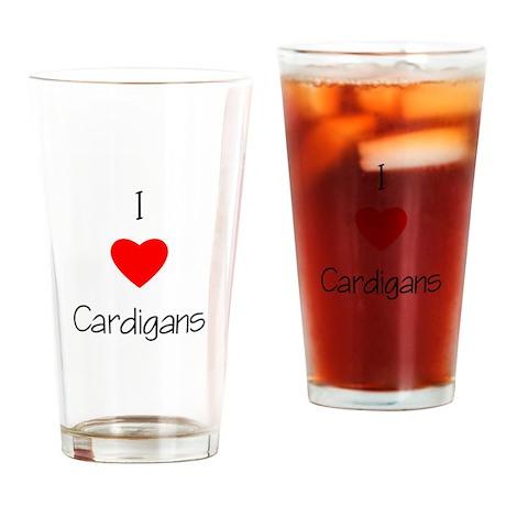 I Love Cardigans Drinking Glass