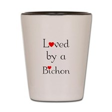 Loved by a Bichon Shot Glass