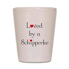 Loved by a Schipperke Shot Glass