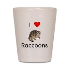 I Love Raccoons Shot Glass