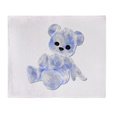 Blue & White Teddy Bear Throw Blanket