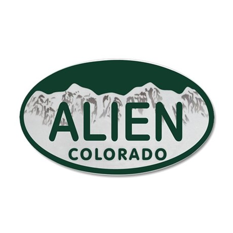 Alien Colo License Plate Wall Decal
