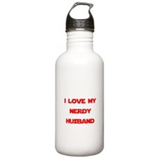 I love my nerdy husband Water Bottle