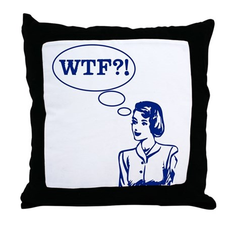 WTF Vintage Throw Pillow