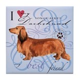 Longhaired Dachshund Tile Coaster