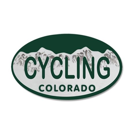 Cycling Colo License Plate 20x12 Oval Wall Decal