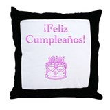 Spanish Birthday Pink Throw Pillow