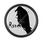 Black Raven on Raven Large Wall Clock
