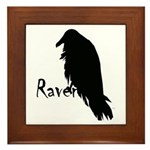 Black Raven on Raven Framed Tile