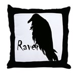 Black Raven on Raven Throw Pillow