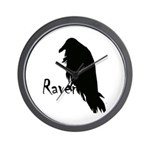 Black Raven on Raven Wall Clock