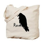 Black Raven on Raven Tote Bag