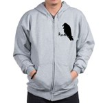 Black Raven on Raven Zip Hoodie