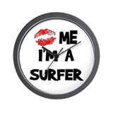 Kiss Me I'm A Surfer Wall Clock