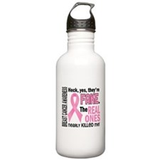 Yes They're Fake Breast Cancer Water Bottle