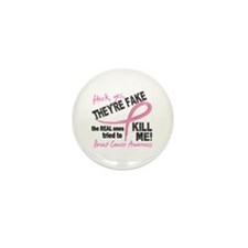 Yes They're Fake Breast Cancer Mini Button (100 pa