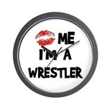 Kiss Me I'm A Wrestler Wall Clock