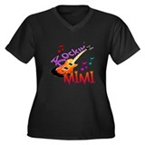 ROCKIN MIMI Women's Plus Size V-Neck Dark T-Shirt