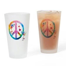 Tree Frogs 4 Peace Symbols Drinking Glass