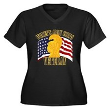 WAC Veteran Women's Plus Size V-Neck Dark T-Shirt