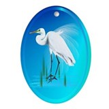 Great Egret Ornament (Oval)