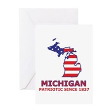MI USA Flag Map 2 Greeting Card