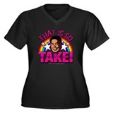 So Takei Women's Plus Size V-Neck Dark T-Shirt