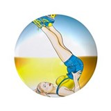 Roller Derby Girl Pin-up 3.5&quot; Button