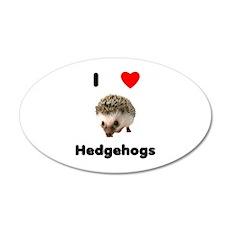 I Love Hedgehogs 20x12 Oval Wall Decal
