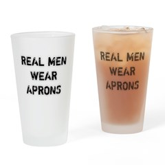 Real Men Wear Aprons Drinking Glass